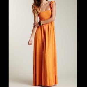 RACHEL PALLY Orange Solid Maxi Dress Ruffle Sleeve Fall Photos Pumpkin XS